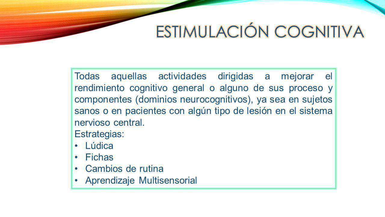 Todas aquellas actividades dirigidas a mejorar el rendimiento cognitivo general o alguno de sus proceso y componentes (dominios neurocognitivos), ya s
