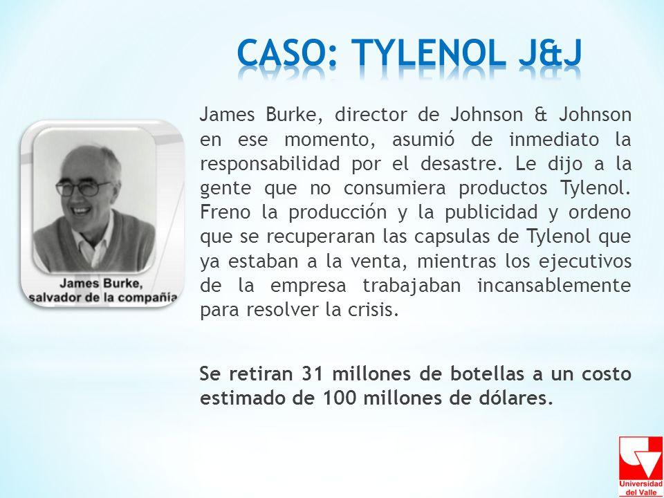 James Burke, director de Johnson & Johnson en ese momento, asumió de inmediato la responsabilidad por el desastre. Le dijo a la gente que no consumier