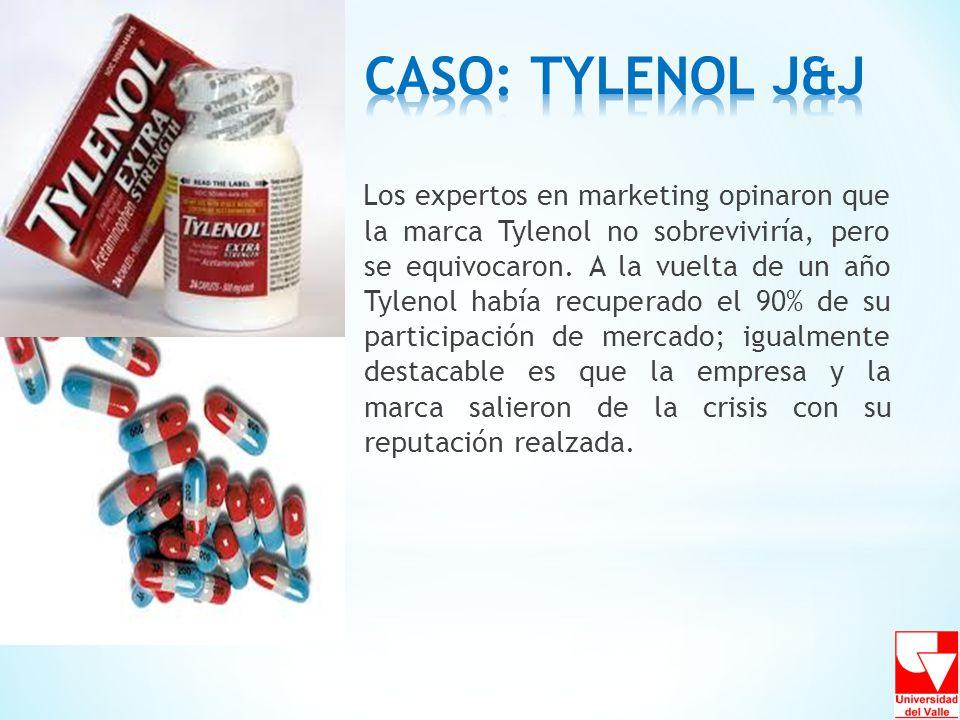 Los expertos en marketing opinaron que la marca Tylenol no sobreviviría, pero se equivocaron. A la vuelta de un año Tylenol había recuperado el 90% de