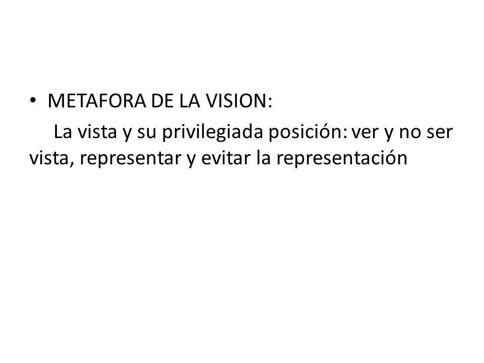 METAFORA DE LA VISION: La vista y su privilegiada posición: ver y no ser vista, representar y evitar la representación