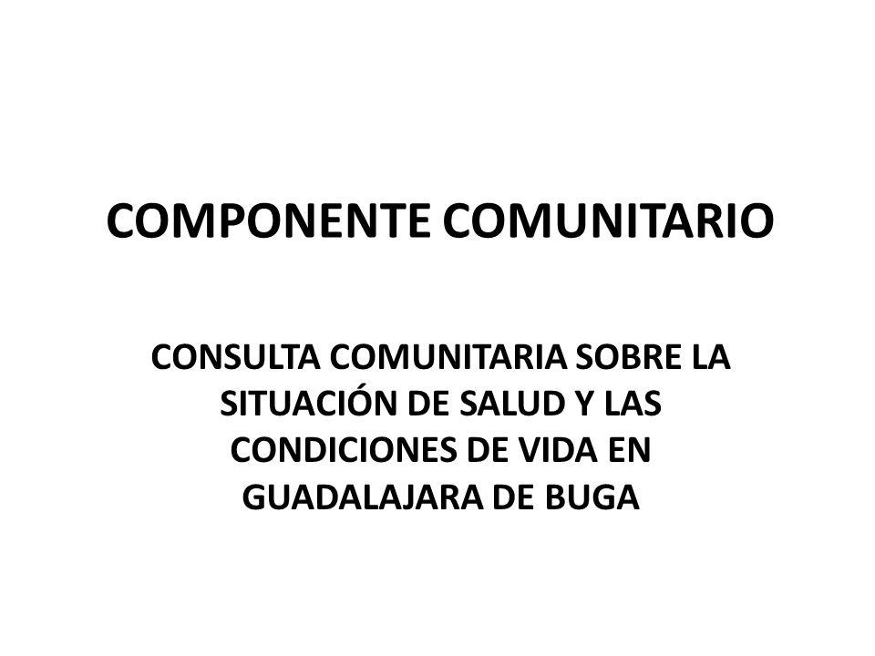 COMPONENTE COMUNITARIO CONSULTA COMUNITARIA SOBRE LA SITUACIÓN DE SALUD Y LAS CONDICIONES DE VIDA EN GUADALAJARA DE BUGA