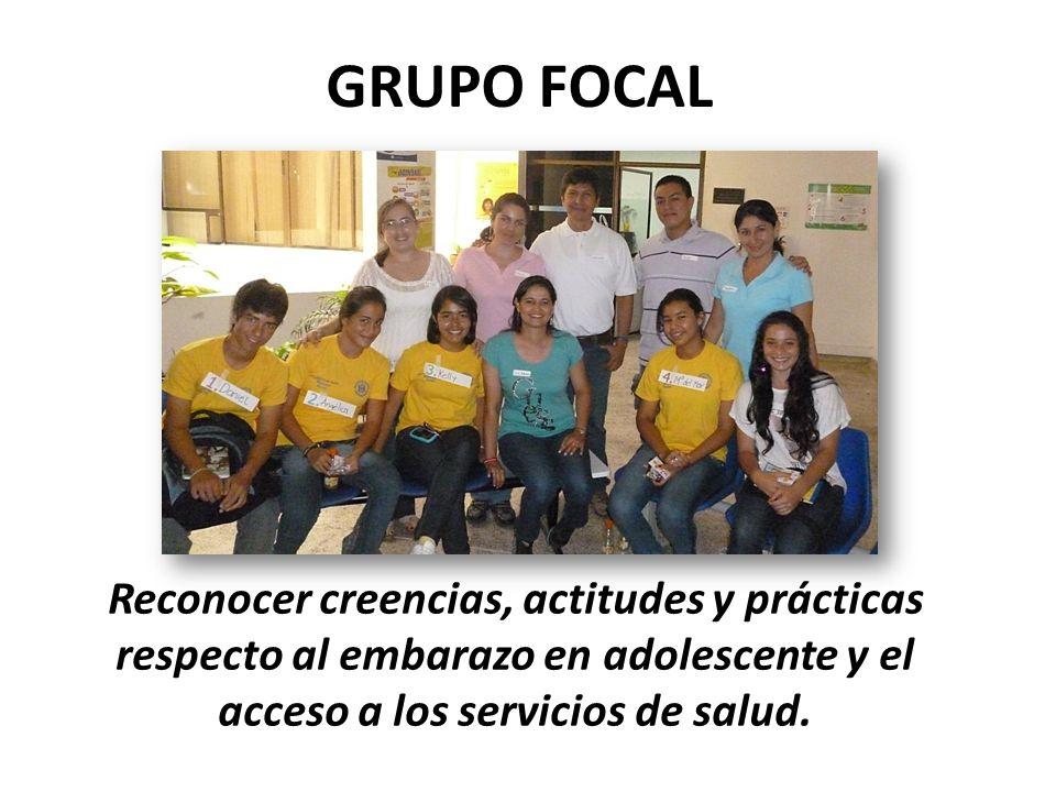 GRUPO FOCAL Reconocer creencias, actitudes y prácticas respecto al embarazo en adolescente y el acceso a los servicios de salud.