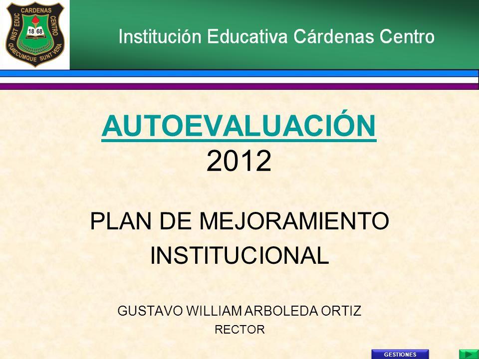 AUTOEVALUACIÓN AUTOEVALUACIÓN 2012 PLAN DE MEJORAMIENTO INSTITUCIONAL GUSTAVO WILLIAM ARBOLEDA ORTIZ RECTOR GESTIONES