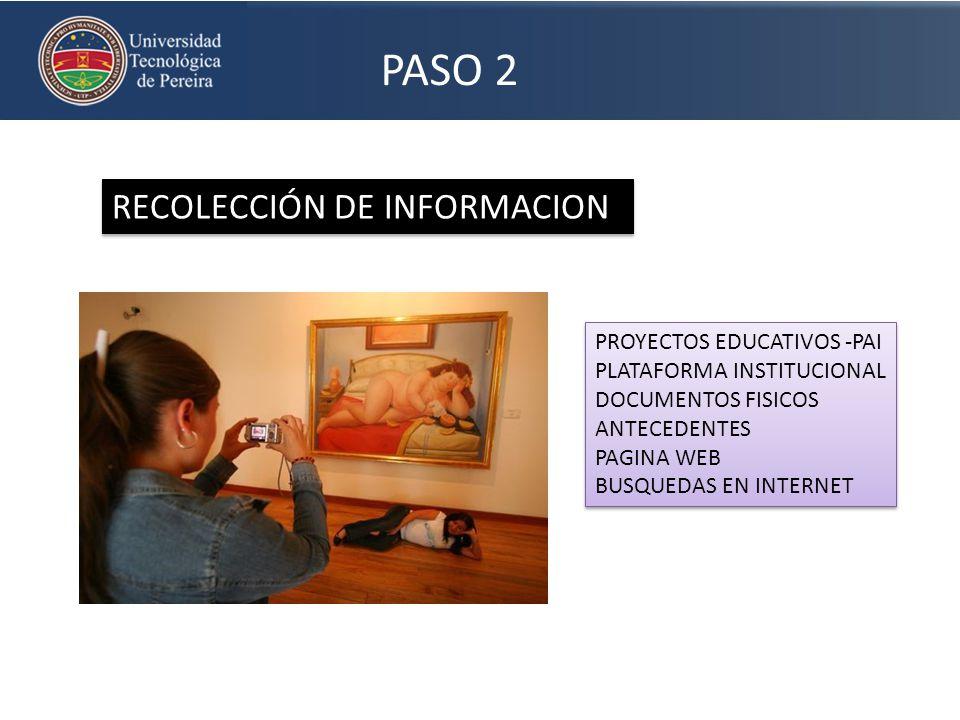 PASO 2 RECOLECCIÓN DE INFORMACION PROYECTOS EDUCATIVOS -PAI PLATAFORMA INSTITUCIONAL DOCUMENTOS FISICOS ANTECEDENTES PAGINA WEB BUSQUEDAS EN INTERNET