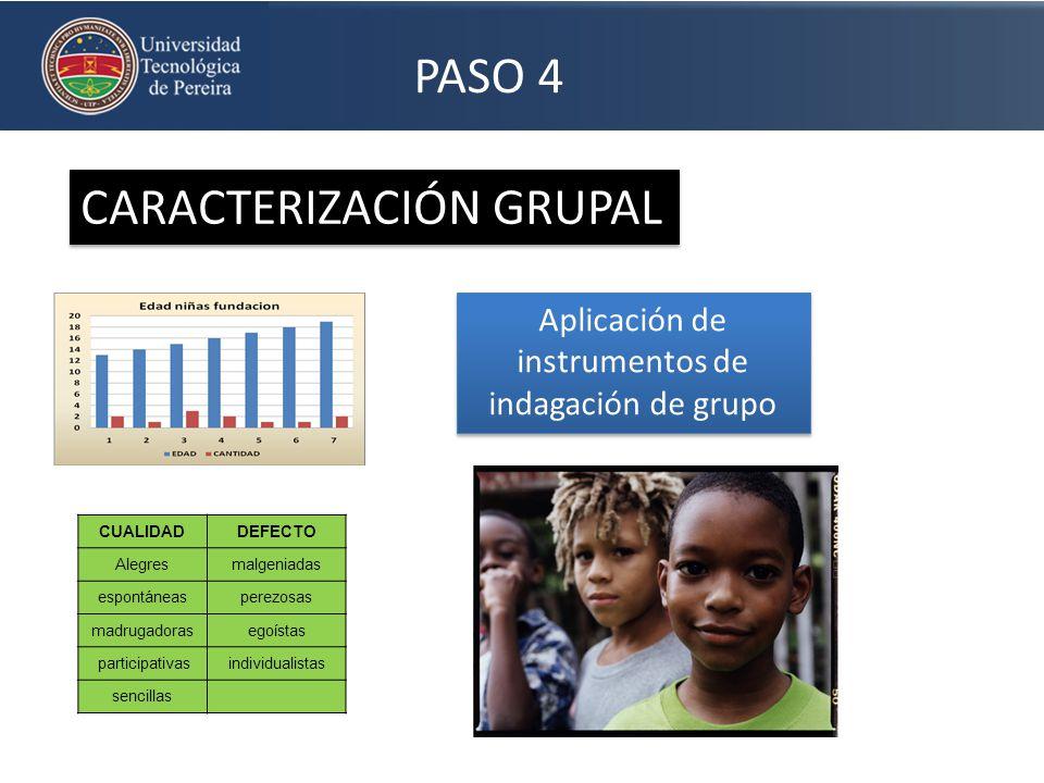 PASO 4 CARACTERIZACIÓN GRUPAL Aplicación de instrumentos de indagación de grupo CUALIDADDEFECTO Alegresmalgeniadas espontáneasperezosas madrugadoraseg