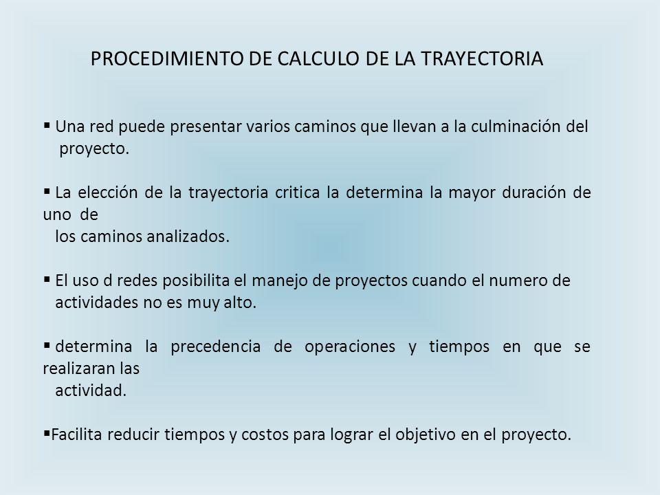 PROCEDIMIENTO DE CALCULO DE LA TRAYECTORIA Una red puede presentar varios caminos que llevan a la culminación del proyecto.