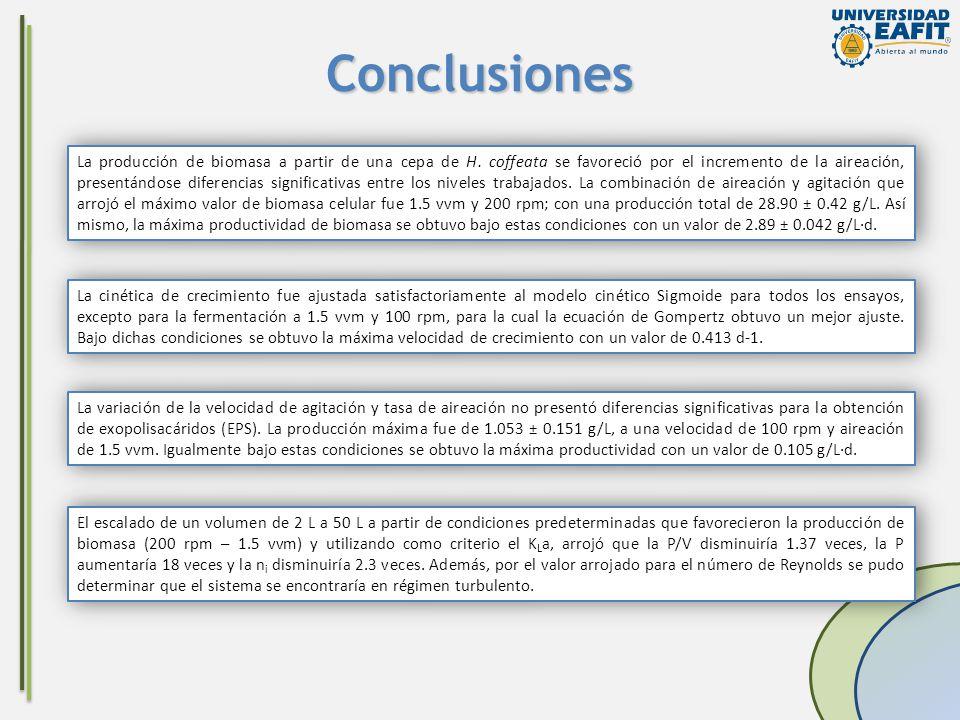 Conclusiones La producción de biomasa a partir de una cepa de H. coffeata se favoreció por el incremento de la aireación, presentándose diferencias si