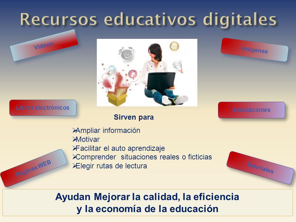 Imágenes Videos Páginas WEB Libros electrónicos Ayudan Mejorar la calidad, la eficiencia y la economía de la educación Simulaciones Tutoriales Ampliar