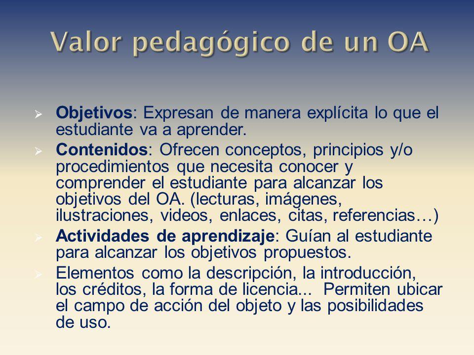 Objetivos: Expresan de manera explícita lo que el estudiante va a aprender. Contenidos: Ofrecen conceptos, principios y/o procedimientos que necesita
