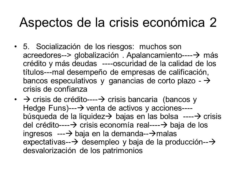 Síntesis crecimiento, especulación desenfrenada--- -extensión cadena de riesgos---burbuja---- crisis del crédito-- crisis de liquidez-- parálisis de inversión y consumo-- desempleo y crisis general Pagan los débiles, los que no tienen responsabilidad: los asalariados y pequeños negociantes.