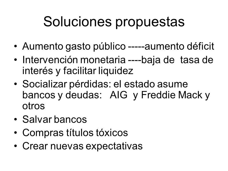 Soluciones propuestas Aumento gasto público -----aumento déficit Intervención monetaria ----baja de tasa de interés y facilitar liquidez Socializar pé