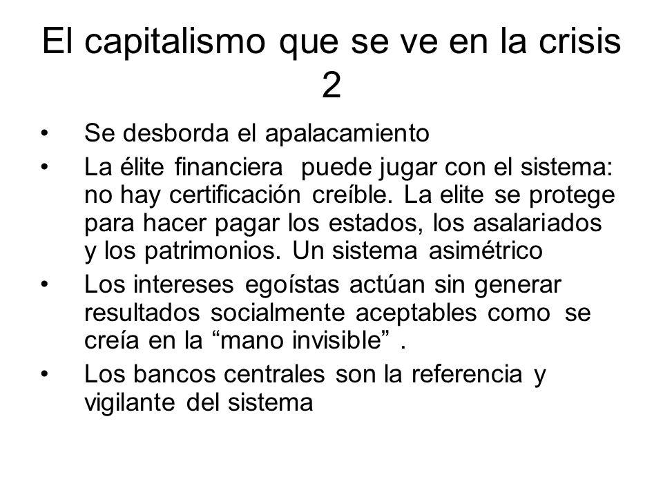 El capitalismo que se ve en la crisis 2 Se desborda el apalacamiento La élite financiera puede jugar con el sistema: no hay certificación creíble. La