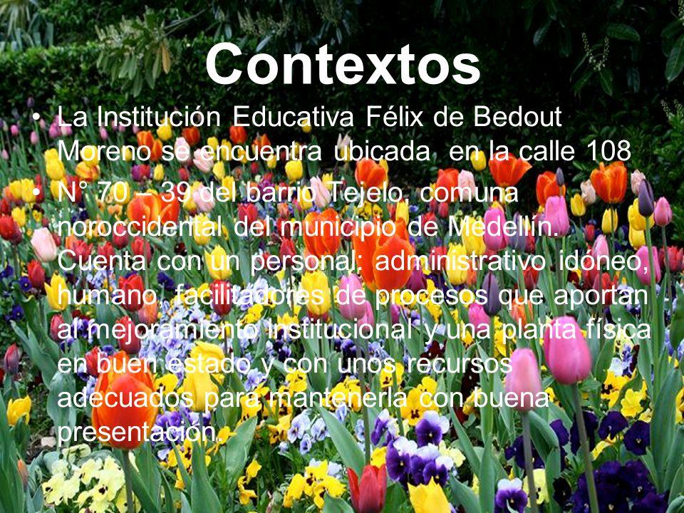 La Institución Educativa Félix de Bedout Moreno se encuentra ubicada en la calle 108 N° 70 – 39 del barrio Tejelo, comuna noroccidental del municipio