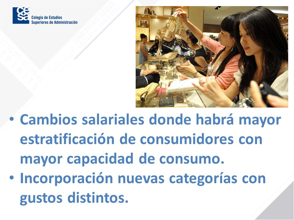 Cambios salariales donde habrá mayor estratificación de consumidores con mayor capacidad de consumo. Incorporación nuevas categorías con gustos distin