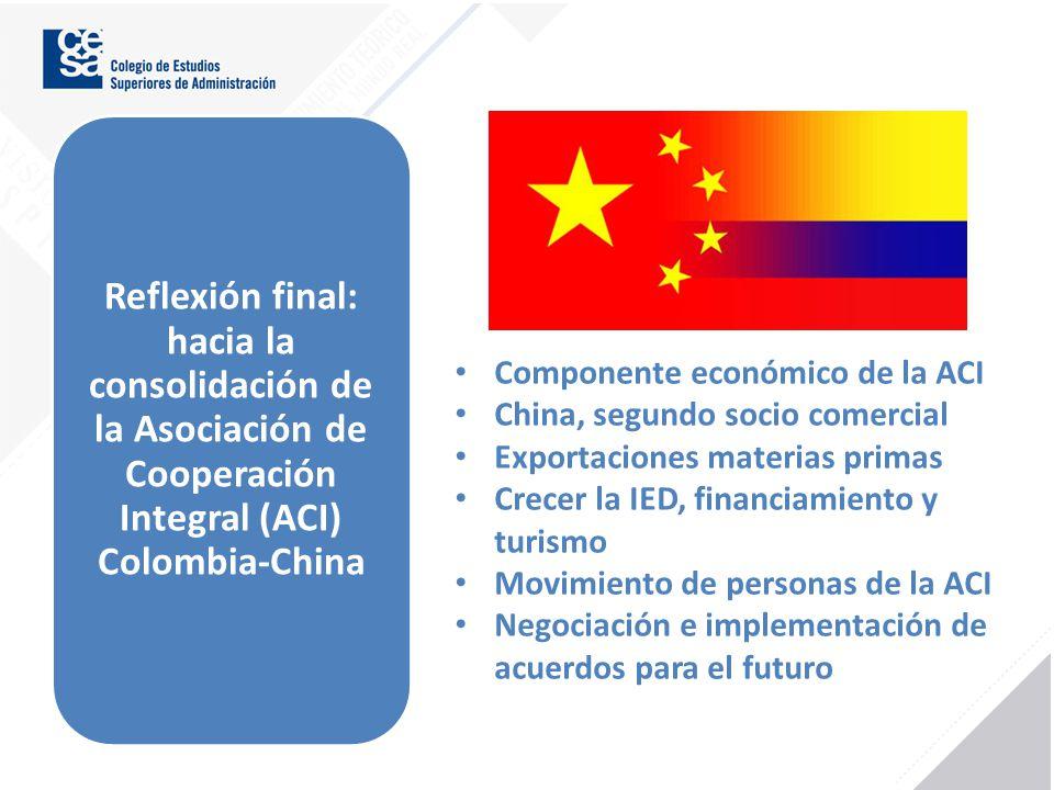 Reflexión final: hacia la consolidación de la Asociación de Cooperación Integral (ACI) Colombia-China Componente económico de la ACI China, segundo so