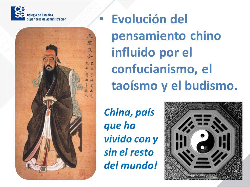 Evolución del pensamiento chino influido por el confucianismo, el taoísmo y el budismo. China, país que ha vivido con y sin el resto del mundo!