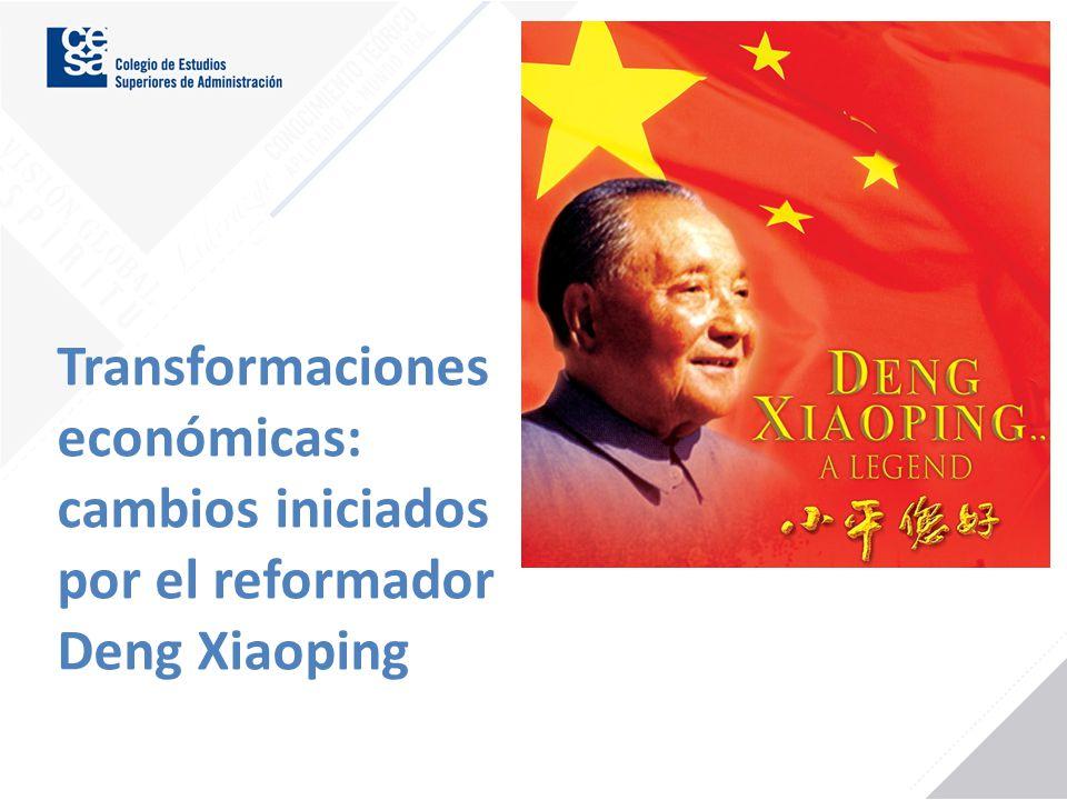 Transformaciones económicas: cambios iniciados por el reformador Deng Xiaoping