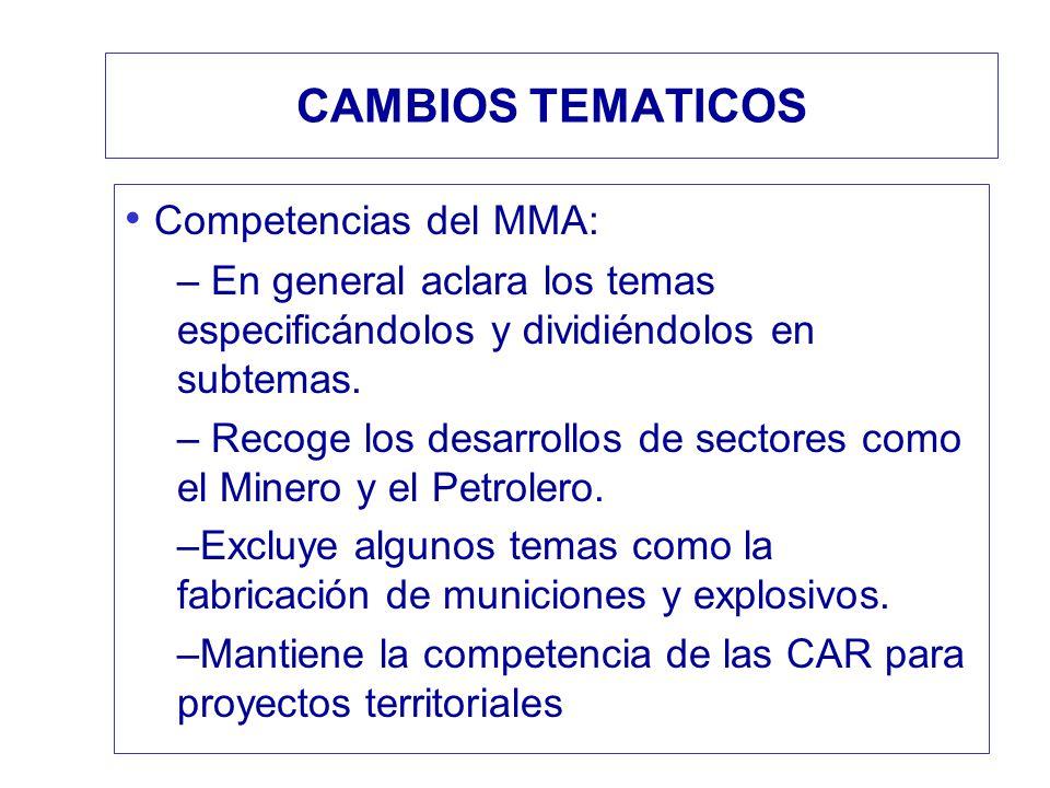 CAMBIOS TEMATICOS Competencias del MMA: – En general aclara los temas especificándolos y dividiéndolos en subtemas. – Recoge los desarrollos de sector