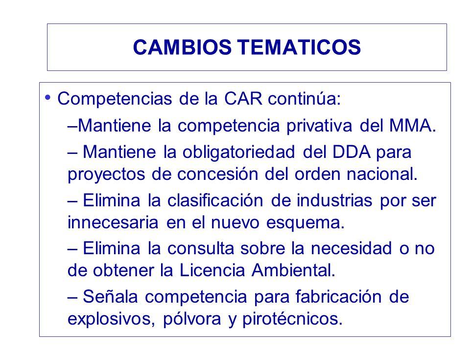 CAMBIOS TEMATICOS Competencias de la CAR continúa: –Mantiene la competencia privativa del MMA. – Mantiene la obligatoriedad del DDA para proyectos de