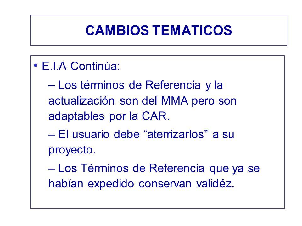 CAMBIOS TEMATICOS E.I.A Continúa: – Los términos de Referencia y la actualización son del MMA pero son adaptables por la CAR. – El usuario debe aterri