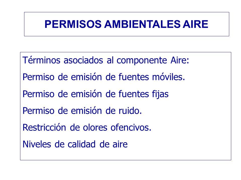 Términos asociados al componente Aire: Permiso de emisión de fuentes móviles. Permiso de emisión de fuentes fijas Permiso de emisión de ruido. Restric