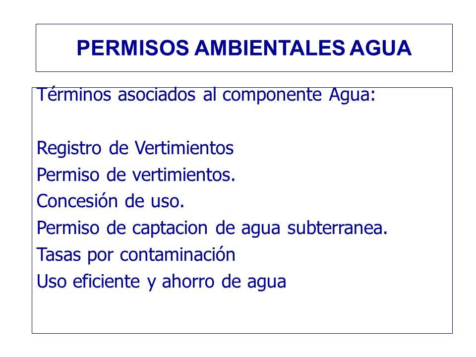Términos asociados al componente Agua: Registro de Vertimientos Permiso de vertimientos. Concesión de uso. Permiso de captacion de agua subterranea. T