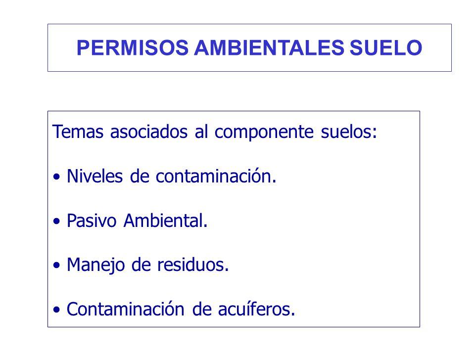 Temas asociados al componente suelos: Niveles de contaminación. Pasivo Ambiental. Manejo de residuos. Contaminación de acuíferos. PERMISOS AMBIENTALES