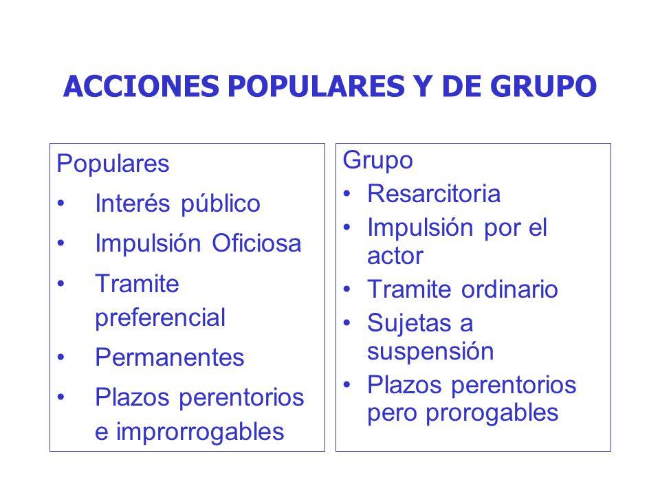 ACCIONES POPULARES Y DE GRUPO Populares Interés público Impulsión Oficiosa Tramite preferencial Permanentes Plazos perentorios e improrrogables Grupo