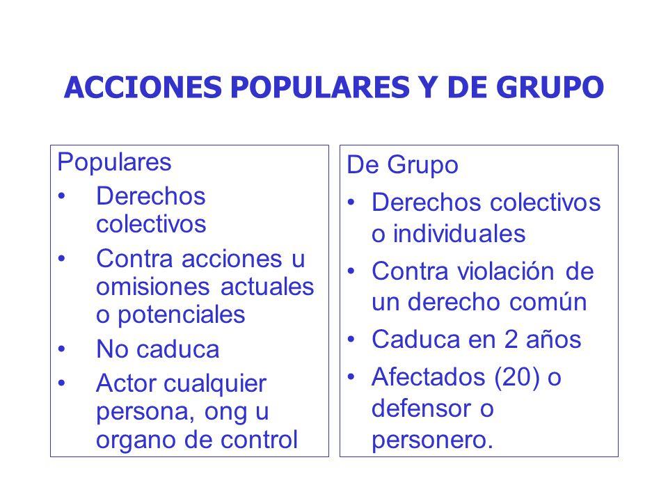ACCIONES POPULARES Y DE GRUPO Populares Derechos colectivos Contra acciones u omisiones actuales o potenciales No caduca Actor cualquier persona, ong