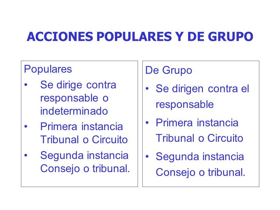 ACCIONES POPULARES Y DE GRUPO Populares Se dirige contra responsable o indeterminado Primera instancia Tribunal o Circuito Segunda instancia Consejo o