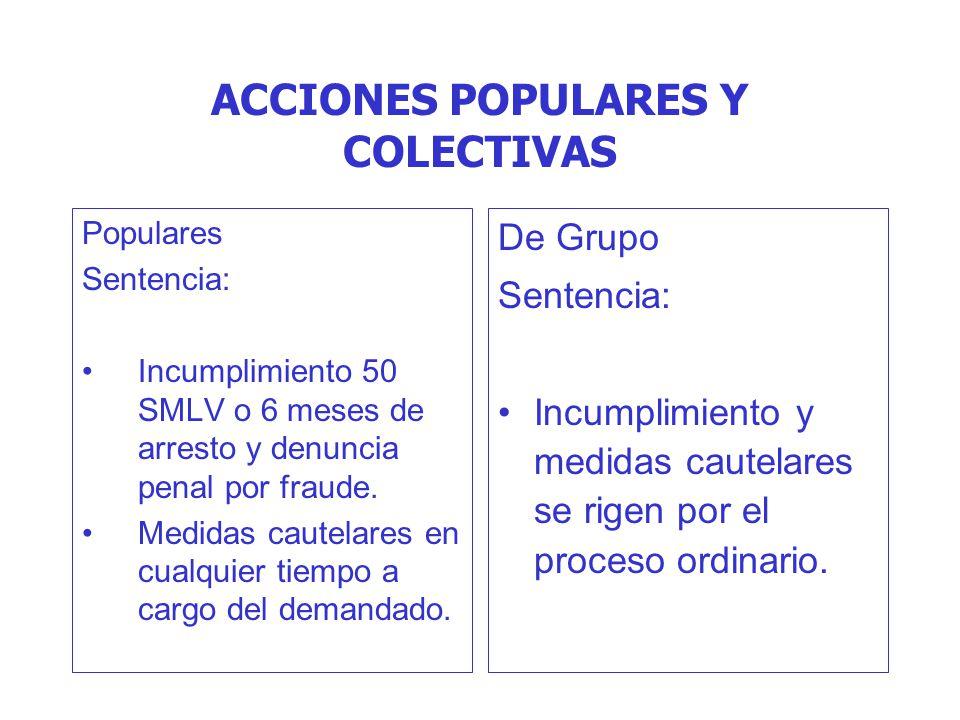 ACCIONES POPULARES Y COLECTIVAS Populares Sentencia: Incumplimiento 50 SMLV o 6 meses de arresto y denuncia penal por fraude. Medidas cautelares en cu
