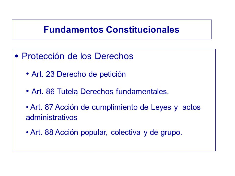 Protección de los Derechos Art. 23 Derecho de petición Art. 86 Tutela Derechos fundamentales. Art. 87 Acción de cumplimiento de Leyes y actos administ
