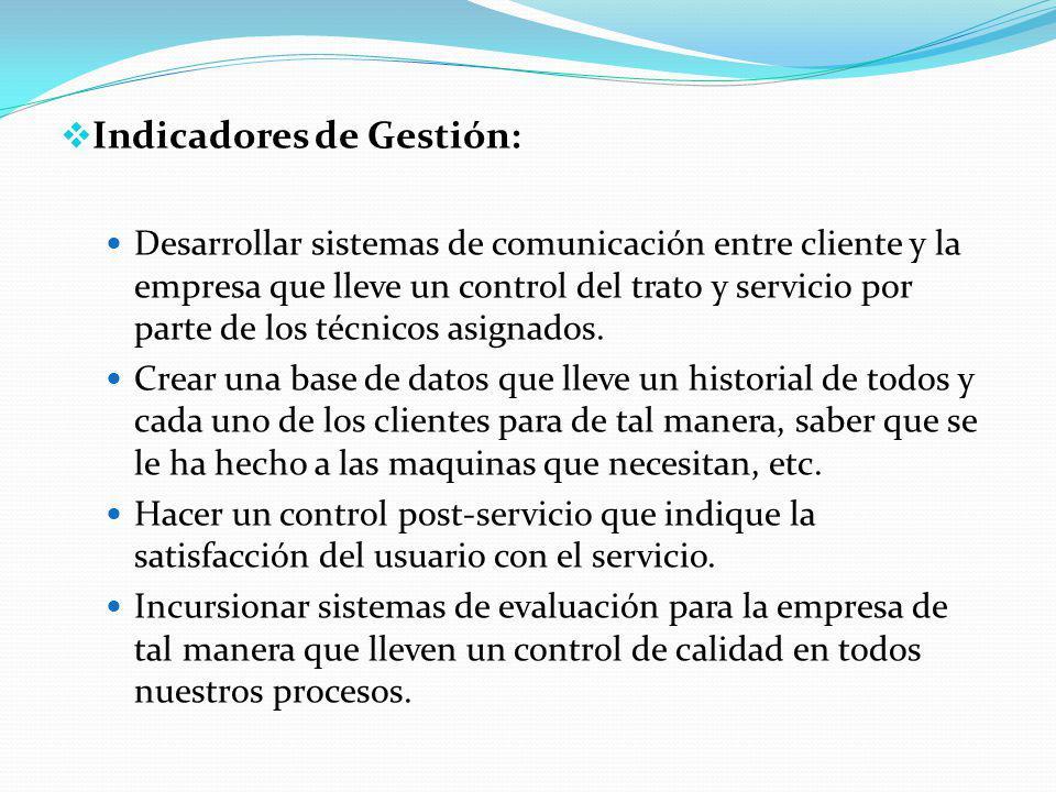Indicadores de Gestión: Desarrollar sistemas de comunicación entre cliente y la empresa que lleve un control del trato y servicio por parte de los técnicos asignados.