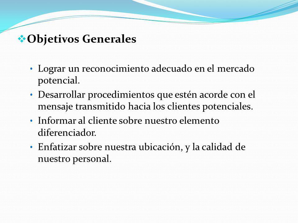 Objetivos Generales Lograr un reconocimiento adecuado en el mercado potencial.