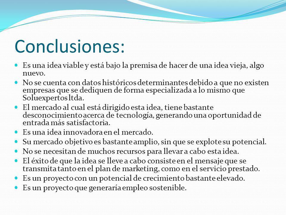 Conclusiones: Es una idea viable y está bajo la premisa de hacer de una idea vieja, algo nuevo.