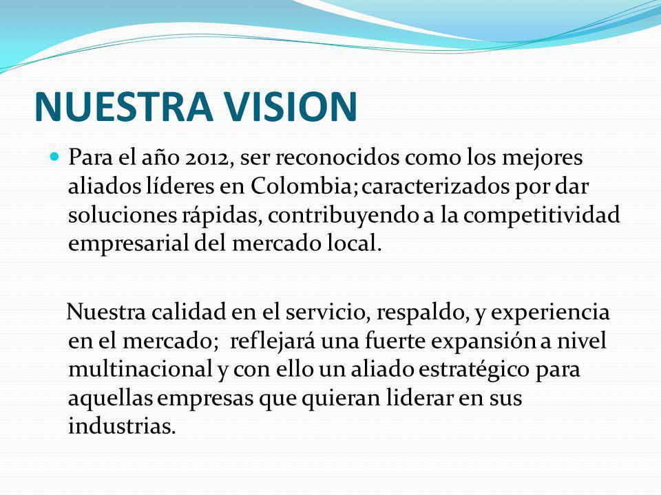 NUESTRA VISION Para el año 2012, ser reconocidos como los mejores aliados líderes en Colombia; caracterizados por dar soluciones rápidas, contribuyendo a la competitividad empresarial del mercado local.