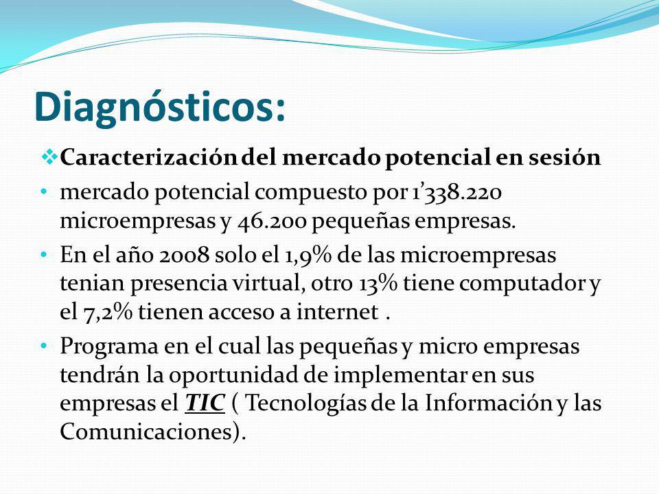 Diagnósticos: Caracterización del mercado potencial en sesión mercado potencial compuesto por 1338.220 microempresas y 46.200 pequeñas empresas.