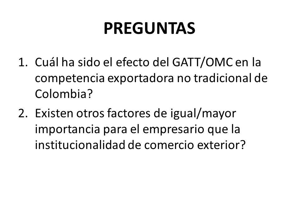 PREGUNTAS 1.Cuál ha sido el efecto del GATT/OMC en la competencia exportadora no tradicional de Colombia? 2.Existen otros factores de igual/mayor impo