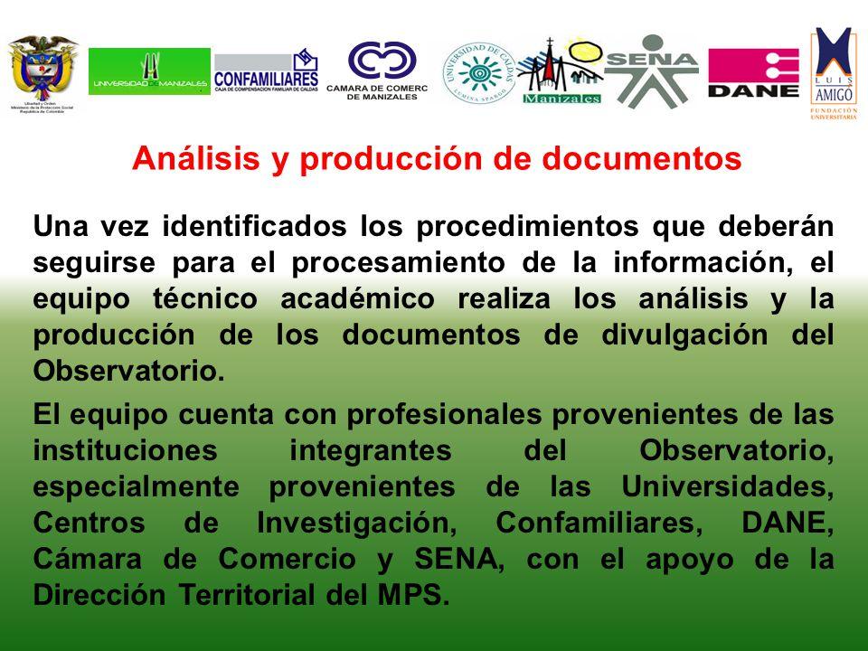 Análisis y producción de documentos Una vez identificados los procedimientos que deberán seguirse para el procesamiento de la información, el equipo técnico académico realiza los análisis y la producción de los documentos de divulgación del Observatorio.