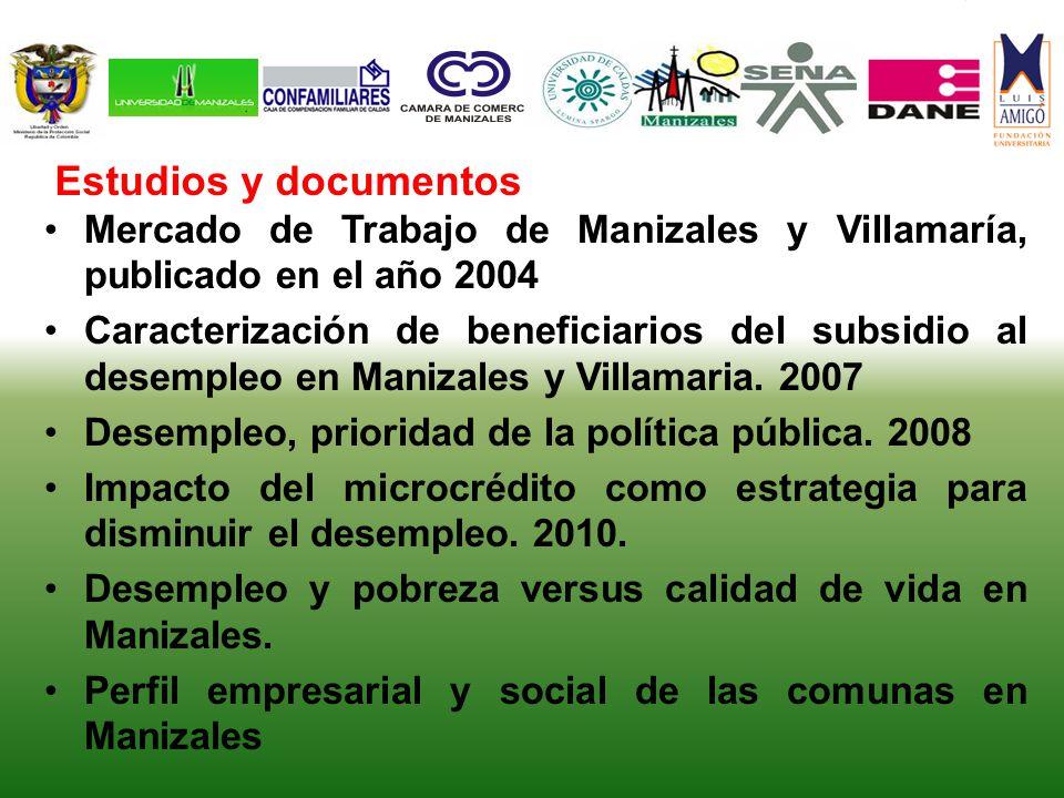 Mercado de Trabajo de Manizales y Villamaría, publicado en el año 2004 Caracterización de beneficiarios del subsidio al desempleo en Manizales y Villamaria.
