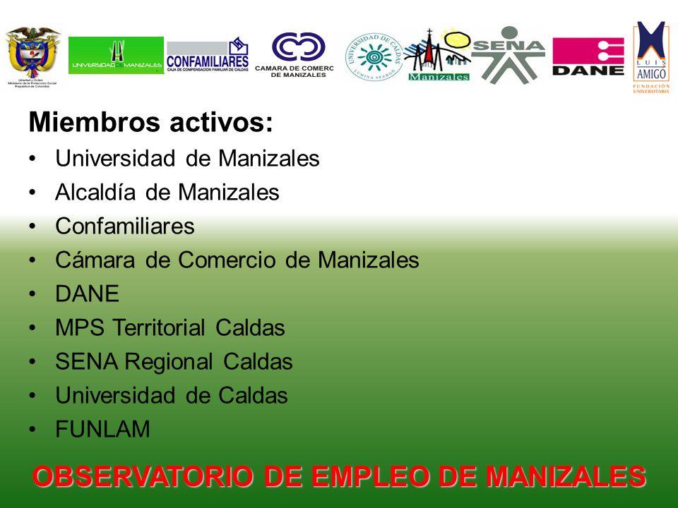 Miembros activos: Universidad de Manizales Alcaldía de Manizales Confamiliares Cámara de Comercio de Manizales DANE MPS Territorial Caldas SENA Regional Caldas Universidad de Caldas FUNLAM OBSERVATORIO DE EMPLEO DE MANIZALES