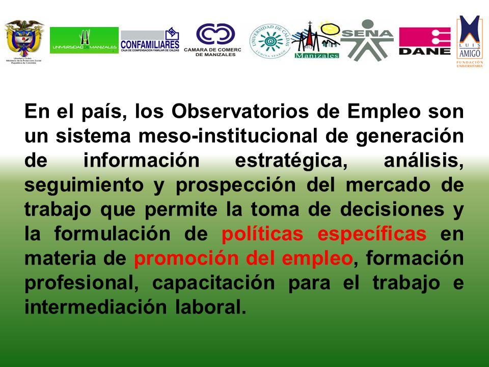 En el país, los Observatorios de Empleo son un sistema meso-institucional de generación de información estratégica, análisis, seguimiento y prospecció
