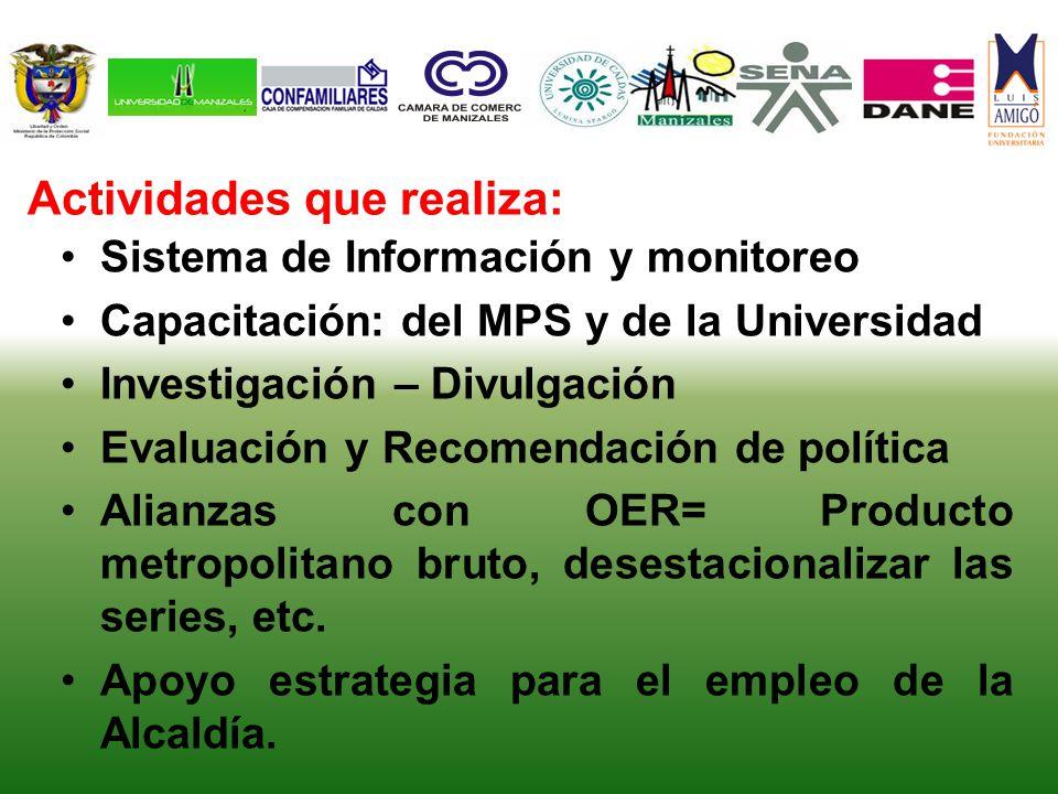 Sistema de Información y monitoreo Capacitación: del MPS y de la Universidad Investigación – Divulgación Evaluación y Recomendación de política Alianz