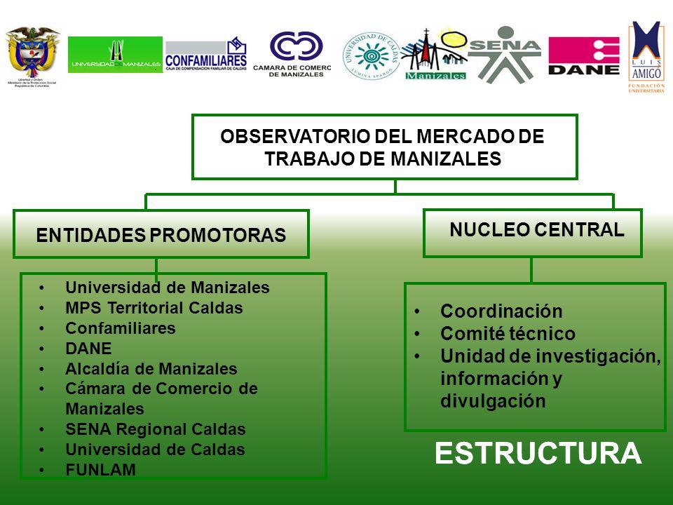ESTRUCTURA OBSERVATORIO DEL MERCADO DE TRABAJO DE MANIZALES NUCLEO CENTRAL ENTIDADES PROMOTORAS Universidad de Manizales MPS Territorial Caldas Confam