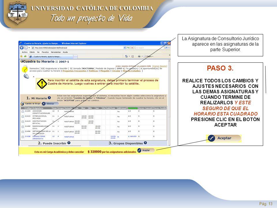Pág. 13 La Asignatura de Consultorio Jurídico aparece en las asignaturas de la parte Superior.