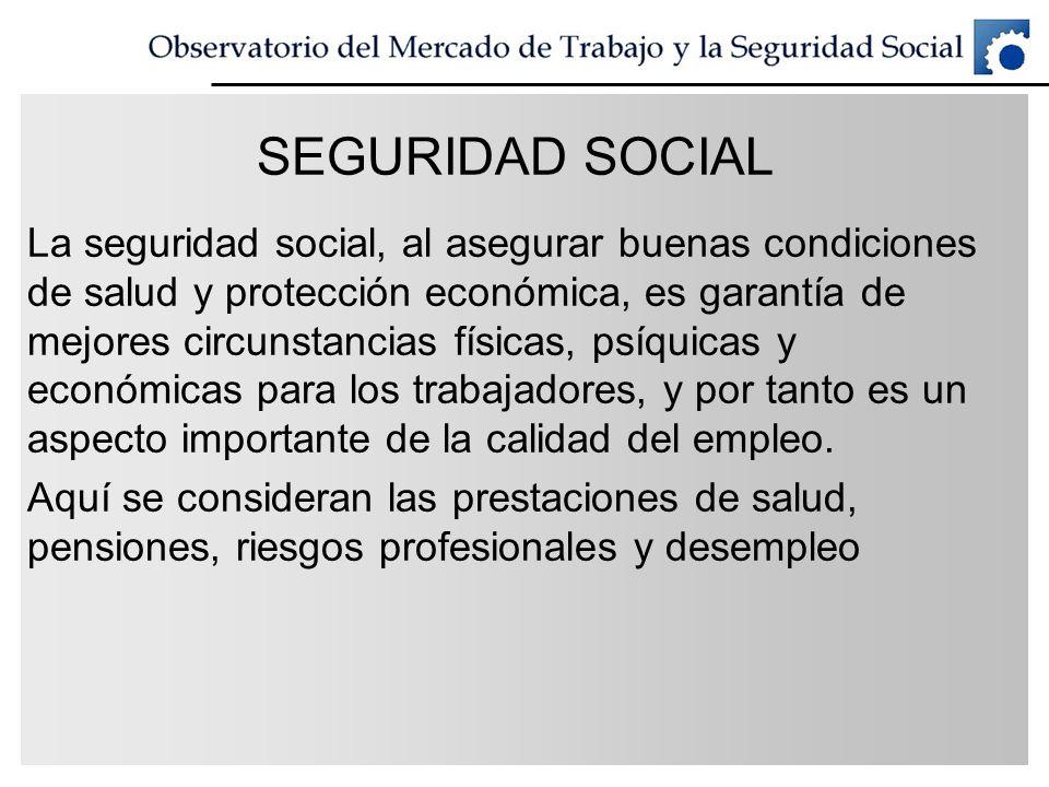 SEGURIDAD SOCIAL La seguridad social, al asegurar buenas condiciones de salud y protección económica, es garantía de mejores circunstancias físicas, p