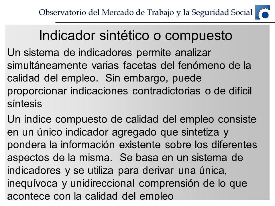 Indicador sintético o compuesto Un sistema de indicadores permite analizar simultáneamente varias facetas del fenómeno de la calidad del empleo. Sin e