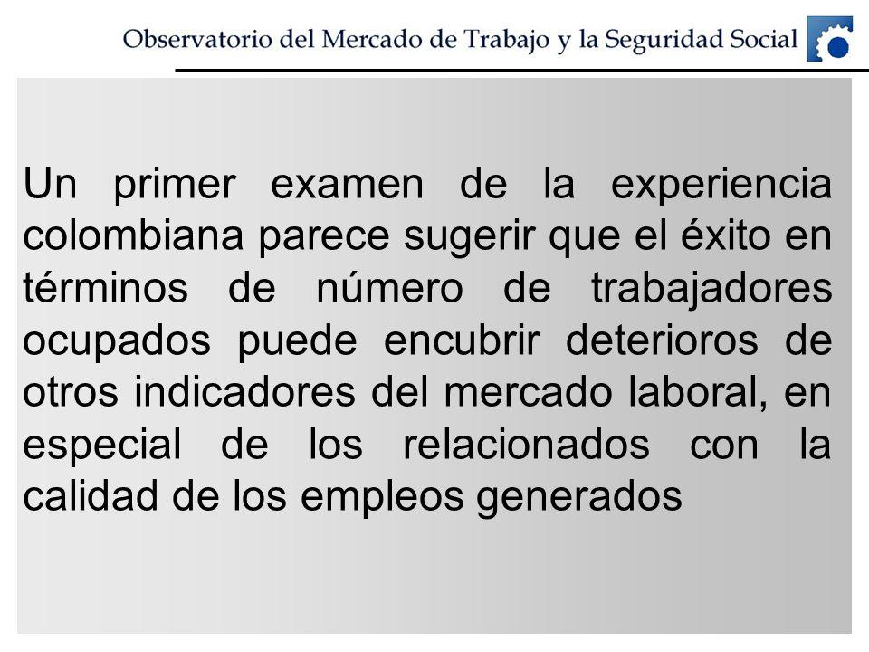 Un primer examen de la experiencia colombiana parece sugerir que el éxito en términos de número de trabajadores ocupados puede encubrir deterioros de