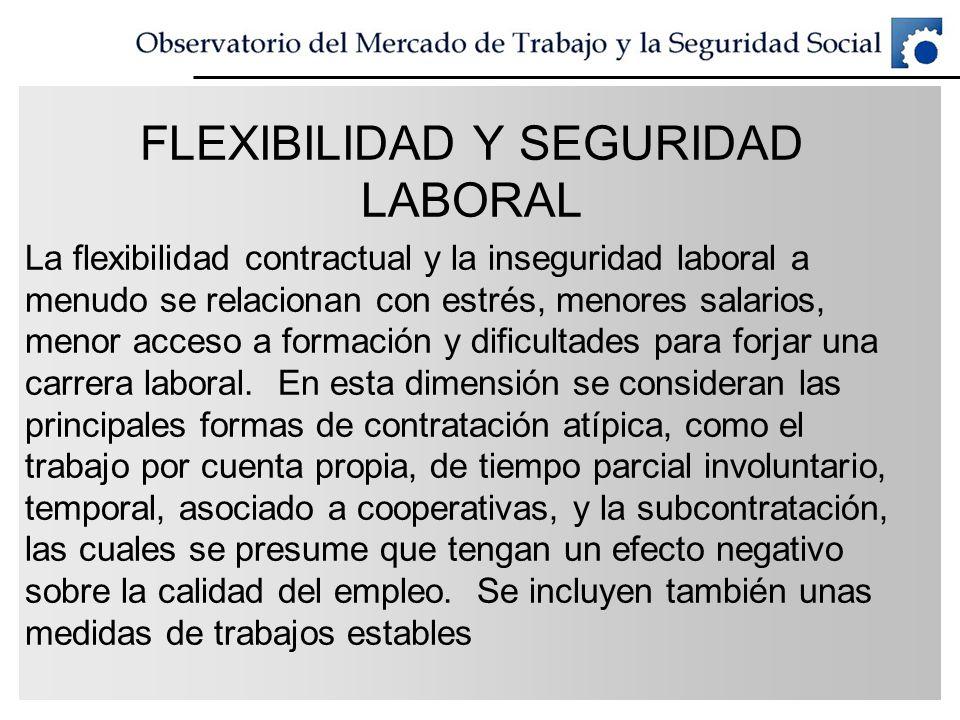 FLEXIBILIDAD Y SEGURIDAD LABORAL La flexibilidad contractual y la inseguridad laboral a menudo se relacionan con estrés, menores salarios, menor acces