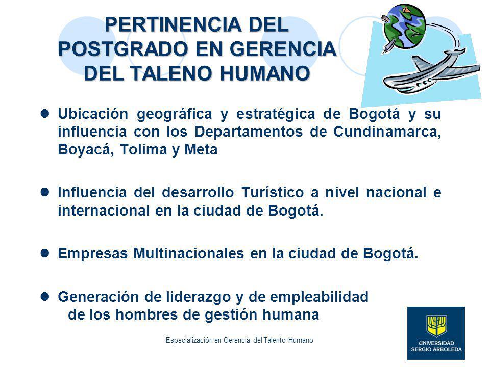 PERTINENCIA DEL POSTGRADO EN GERENCIA DEL TALENO HUMANO Ubicación geográfica y estratégica de Bogotá y su influencia con los Departamentos de Cundinam